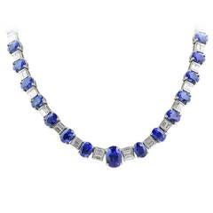 39.41 Carat Sapphire Diamond Platinum Necklace