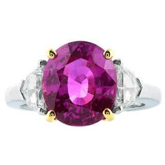 6.28 Carat Pink Sapphire Diamond Gold Platinum Three Stone Ring
