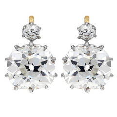 7.51 Carat Antique Cushion Diamond Gold Platinum Earrings