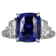 6.19 Carat GIA Cert Sapphire Diamond Platinum Three Stone Ring
