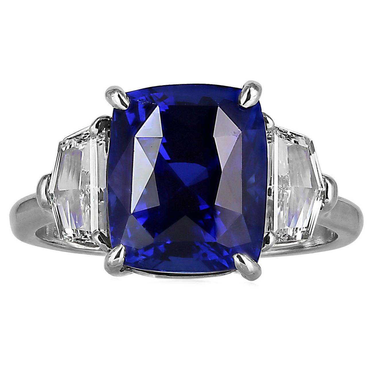6.19 Carat GIA Certified Sapphire Diamond Platinum Three-Stone Ring