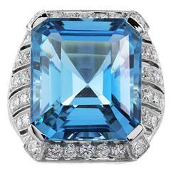 15.15 Carat Aquamarine Diamond Platinum Ring