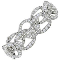 Art Deco 18.70 Carat Diamond Platinum Bracelet