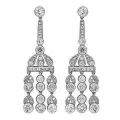 5.85 Carat Diamond Platinum Drop Earrings