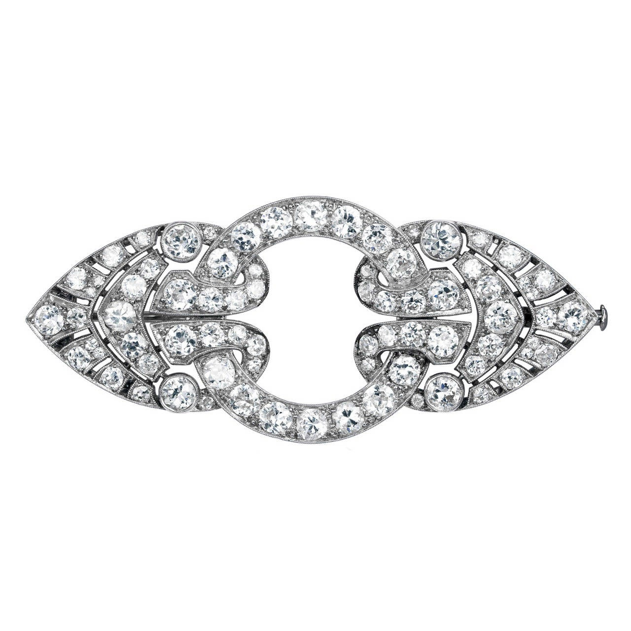 Art Deco 6 Carat Diamond Platinum Brooch