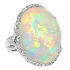 26.02 Carat Opal Diamond Platinum Cluster Ring