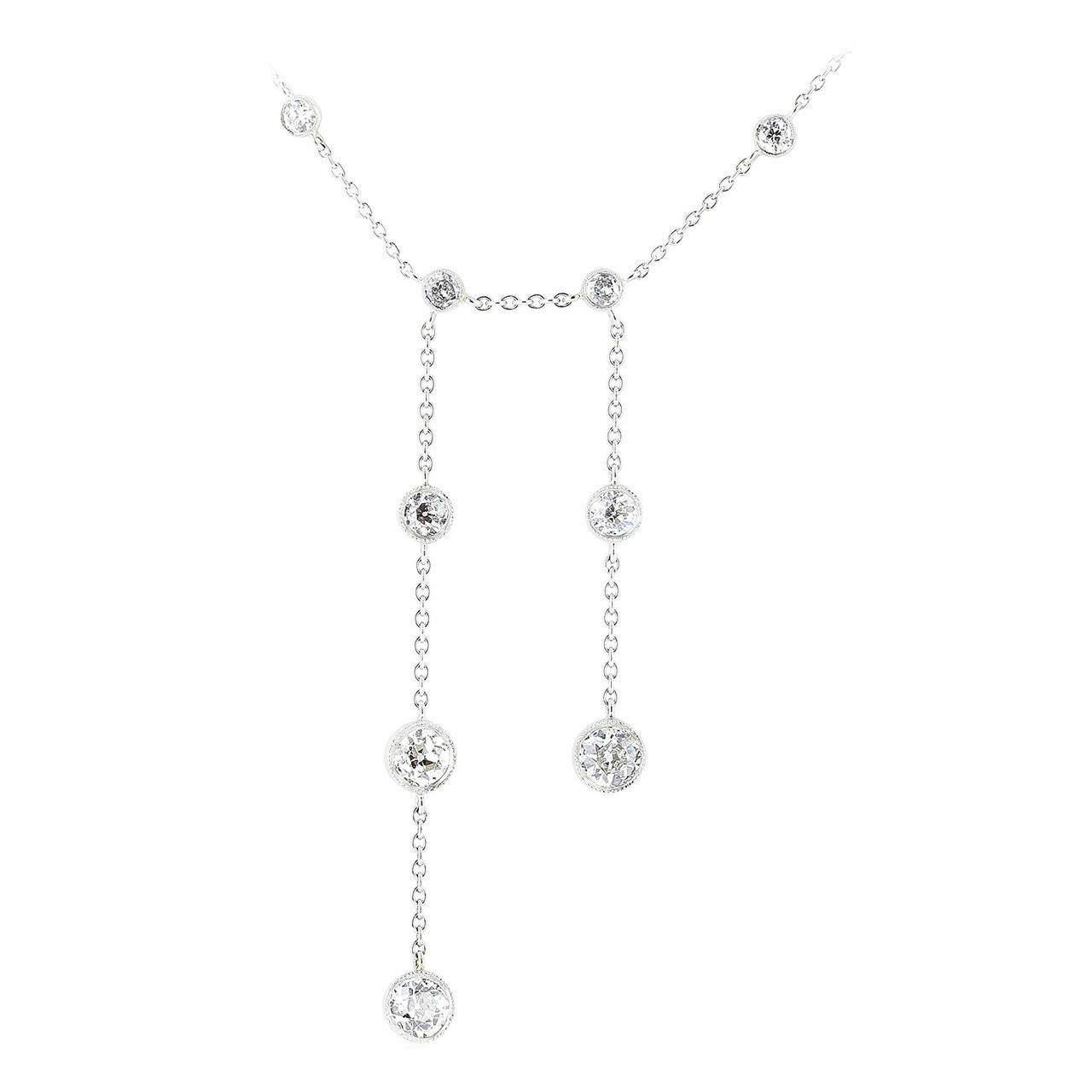 4.15 Carat Mine Cut Diamond Platinum Necklace