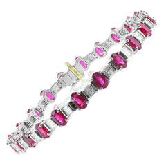 Burma Ruby Diamond Platinum Line Bracelet