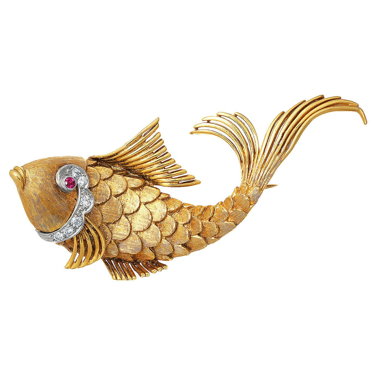 Ruby Diamond Gold Fish Brooch 1