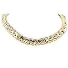 Bulgari Diamond Gold Spiga Necklace