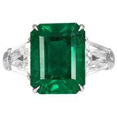 6.08 Carat Emerald Diamond Platinum Ring