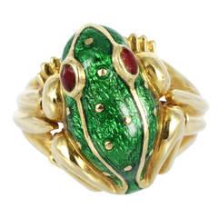David Webb Enamel Gold Frog Ring