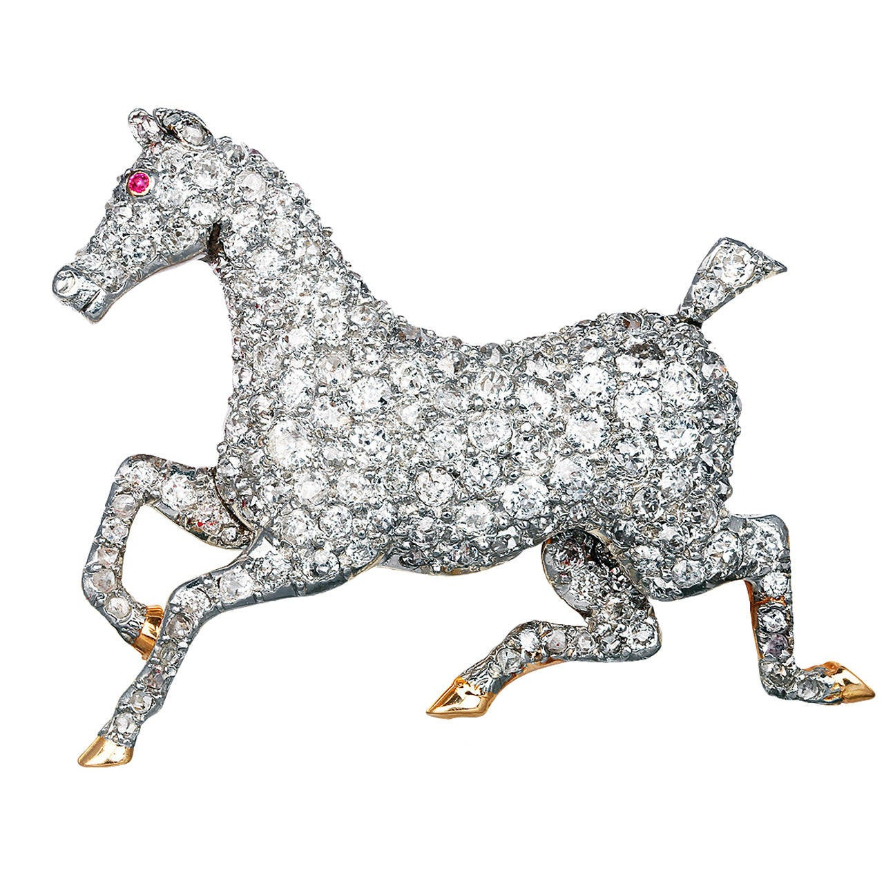 Edwardian Diamond Horse Pin