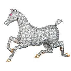Edwardian Diamond Horse Pin