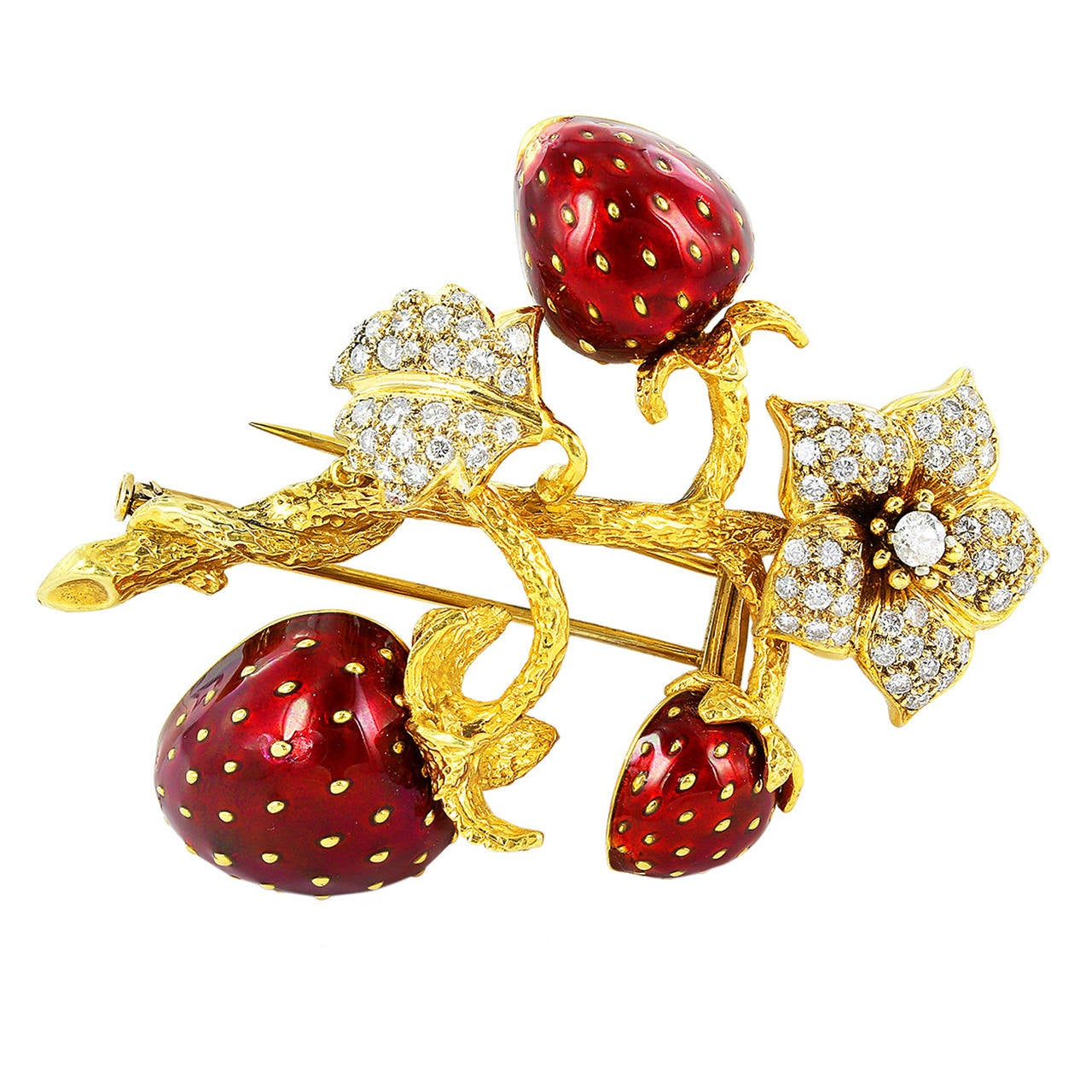 Enamel Diamond Gold Strawberry Brooch