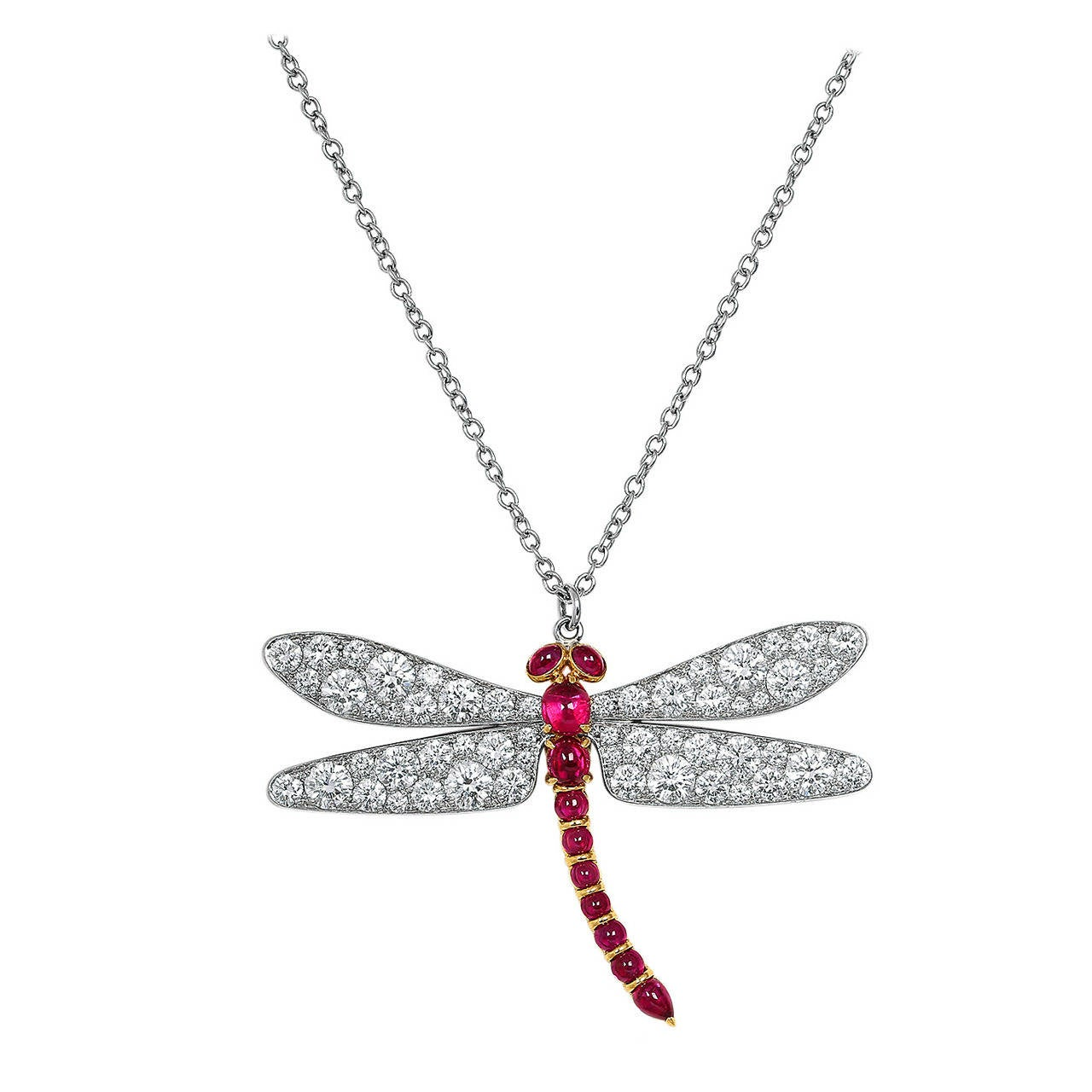 Diamond ruby gold platinum dragonfly pendant at 1stdibs diamond ruby gold platinum dragonfly pendant for sale mozeypictures