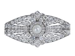 Art Deco Natural Pearl Diamond Platinum Pin