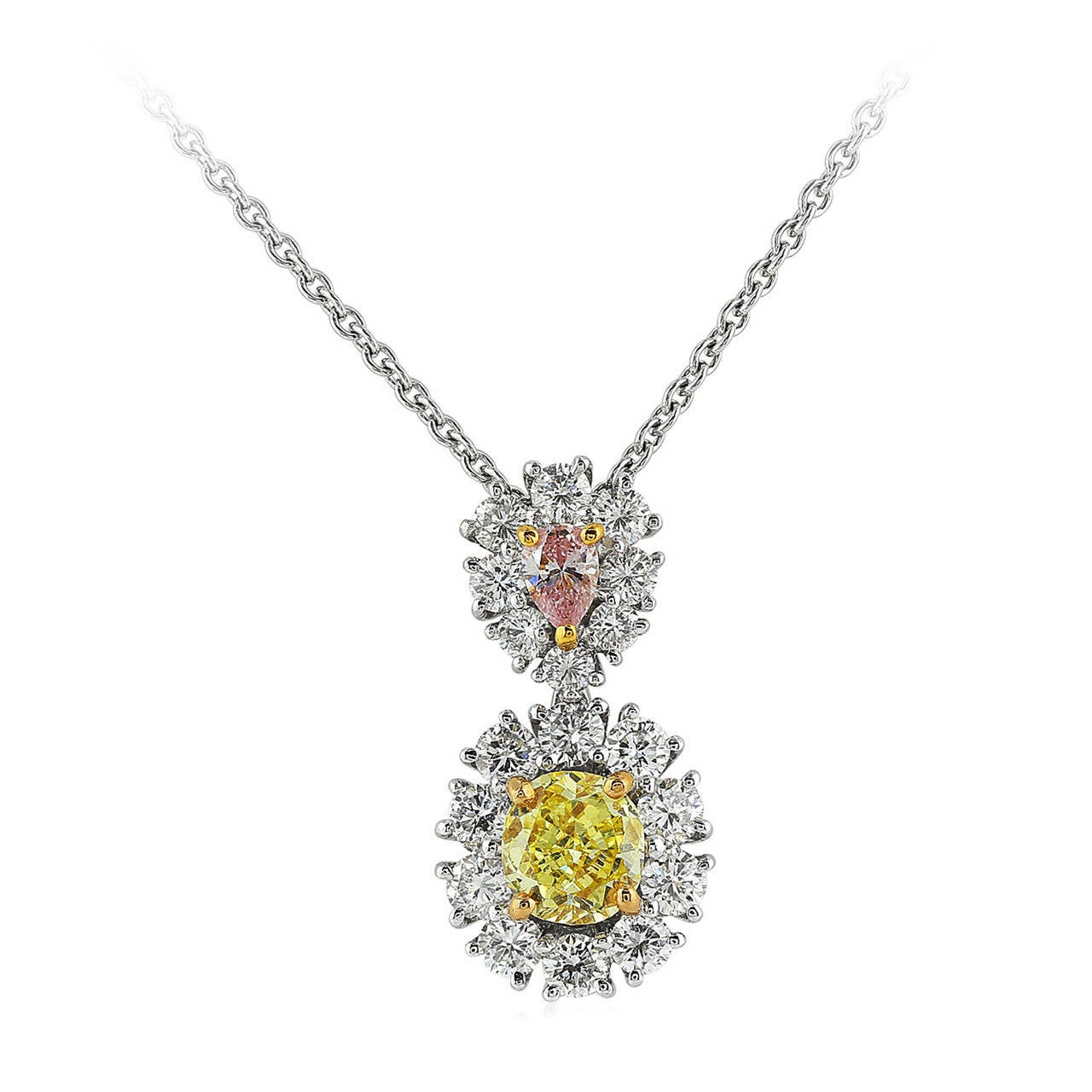 Natural Yellow and Pink Diamond Gold Platinum Cluster Drop Pendant For Sale