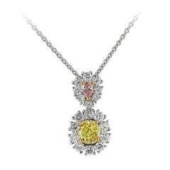 Natural Yellow and Pink Diamond Gold Platinum Cluster Drop Pendant