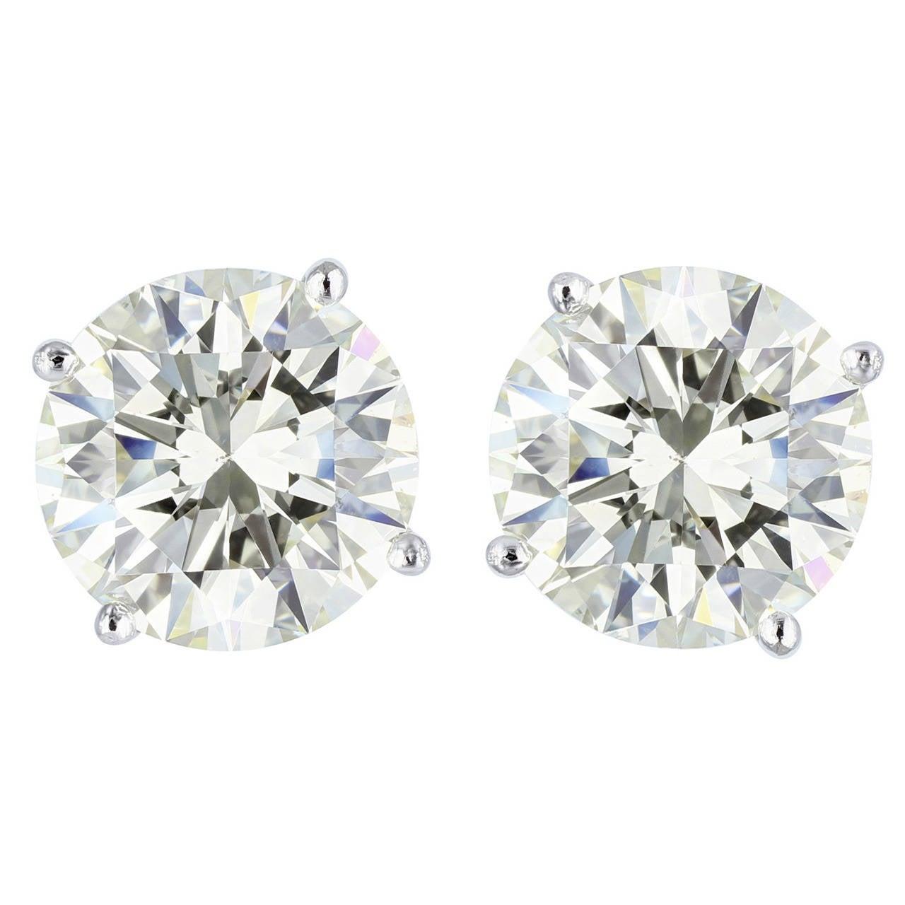 10.08 Carat GIA Cert Diamond Gold Stud Earrings 1