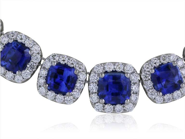 Sapphire Diamond Eternity Necklace 40.55 Carats Of Sapphires 2