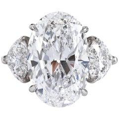 7.82 Oval Diamond GIA D FL and 2 HS Diamonds 2.15 GIA D IF Ring