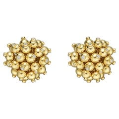Gold Pom Pom Earrings