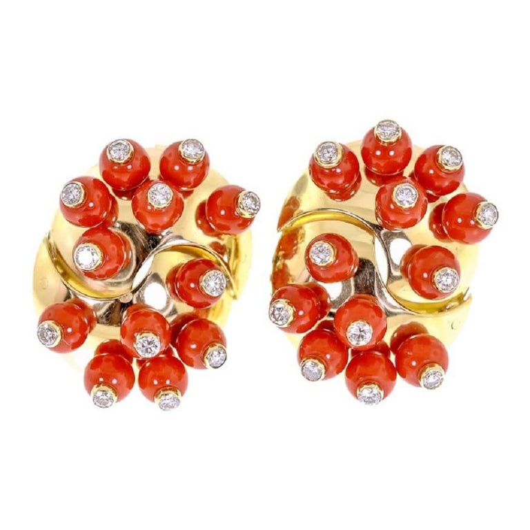 18 Karat Yellow Gold Coral and Diamond Clip-On Earrings