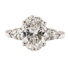 GIA Certified 3.20 Carat D/SI1 Oval Three-Stone Diamond Engagement Ring