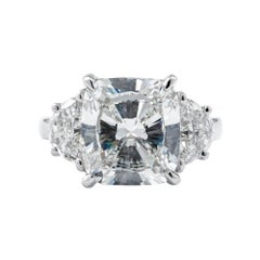 GIA Certified 5.01 Carat H/SI2 Three-Stone Diamond Engagement Ring
