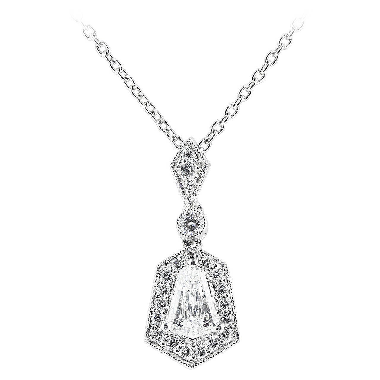 1.20 Carat Diamond Platinum Pendant For Sale