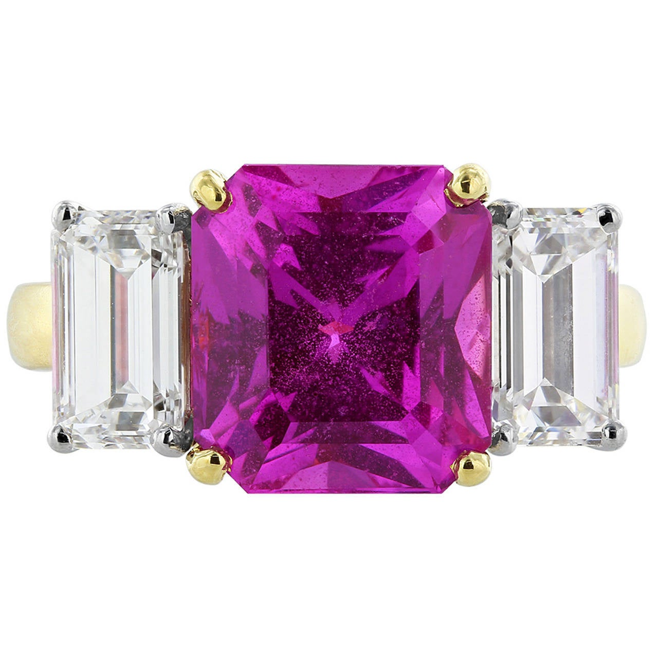 6.13 Carat Pink Sapphire Diamond Gold Platinum Three Stone Ring