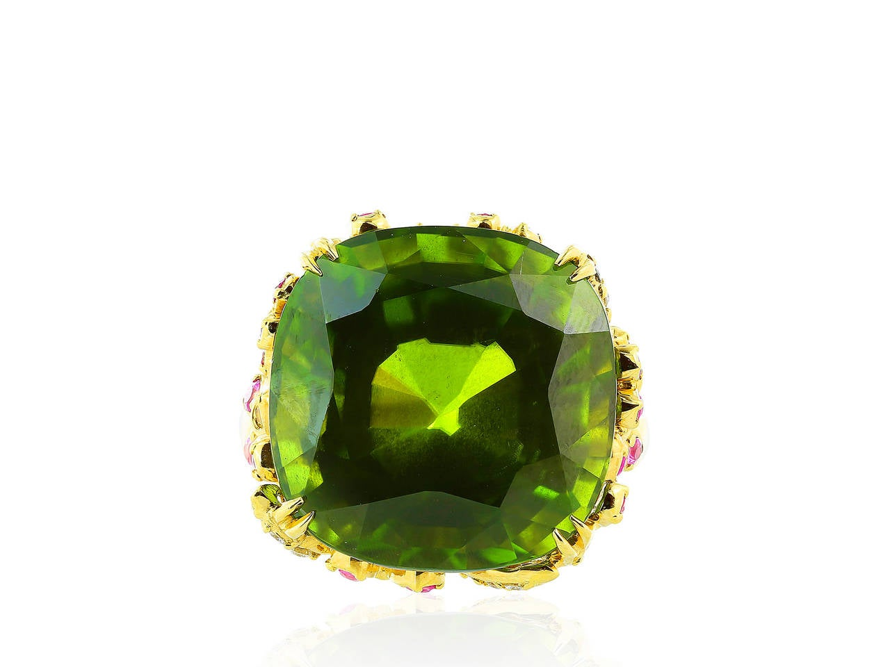 unique peridot sapphire gold ring at 1stdibs