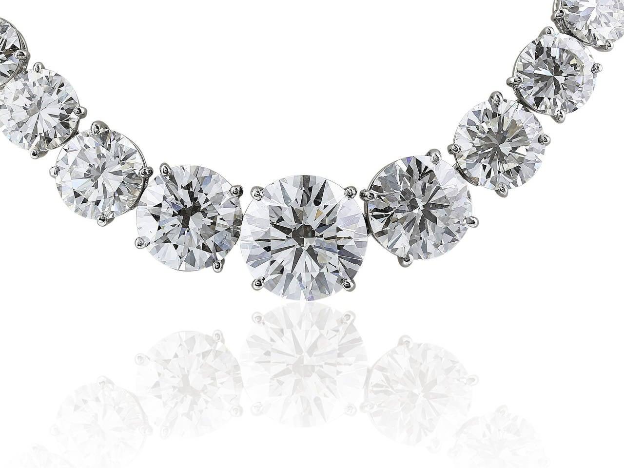 Contemporary 77.05 Carat Diamond Platinum Riviere Necklace For Sale