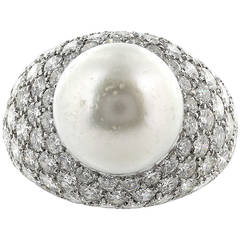 Van Cleef & Arpels Pearl Diamond Pave Platinum Ring