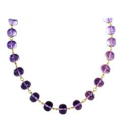 Amethyst Bead and Gold Necklace