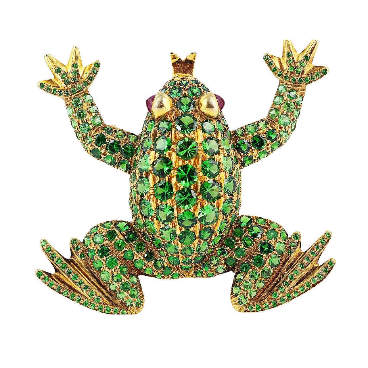 Tsavorite Garnet Gold Frog Brooch