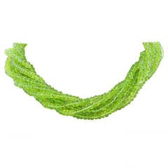 Peridot Bead Torsade Necklace