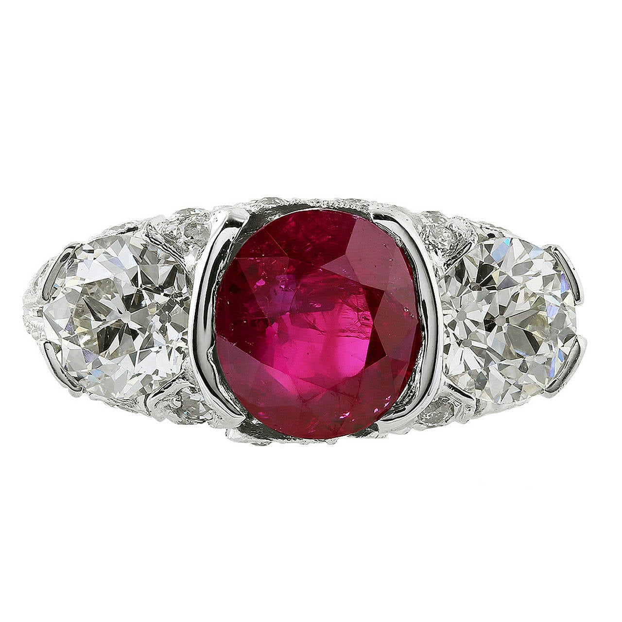3.52 Carat Burma Ruby Diamond Platinum Ring