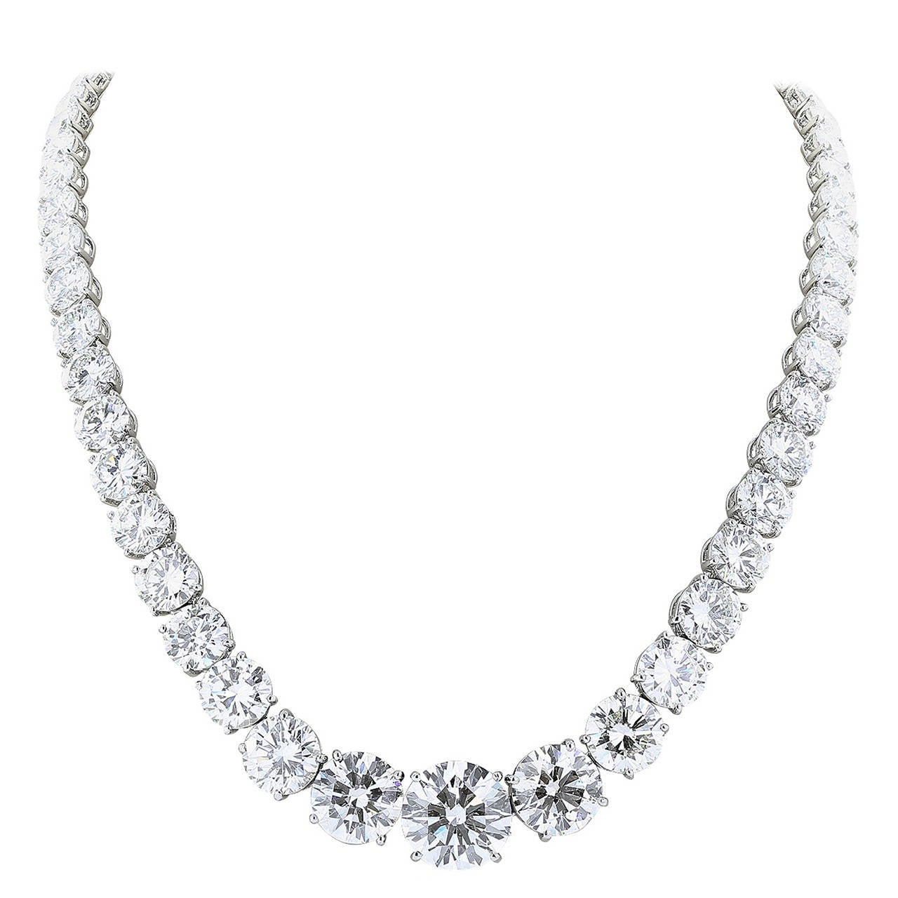 77.05 Carat Diamond Platinum Riviere Necklace For Sale