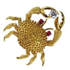 Ruby Diamond Gold Crab Brooch