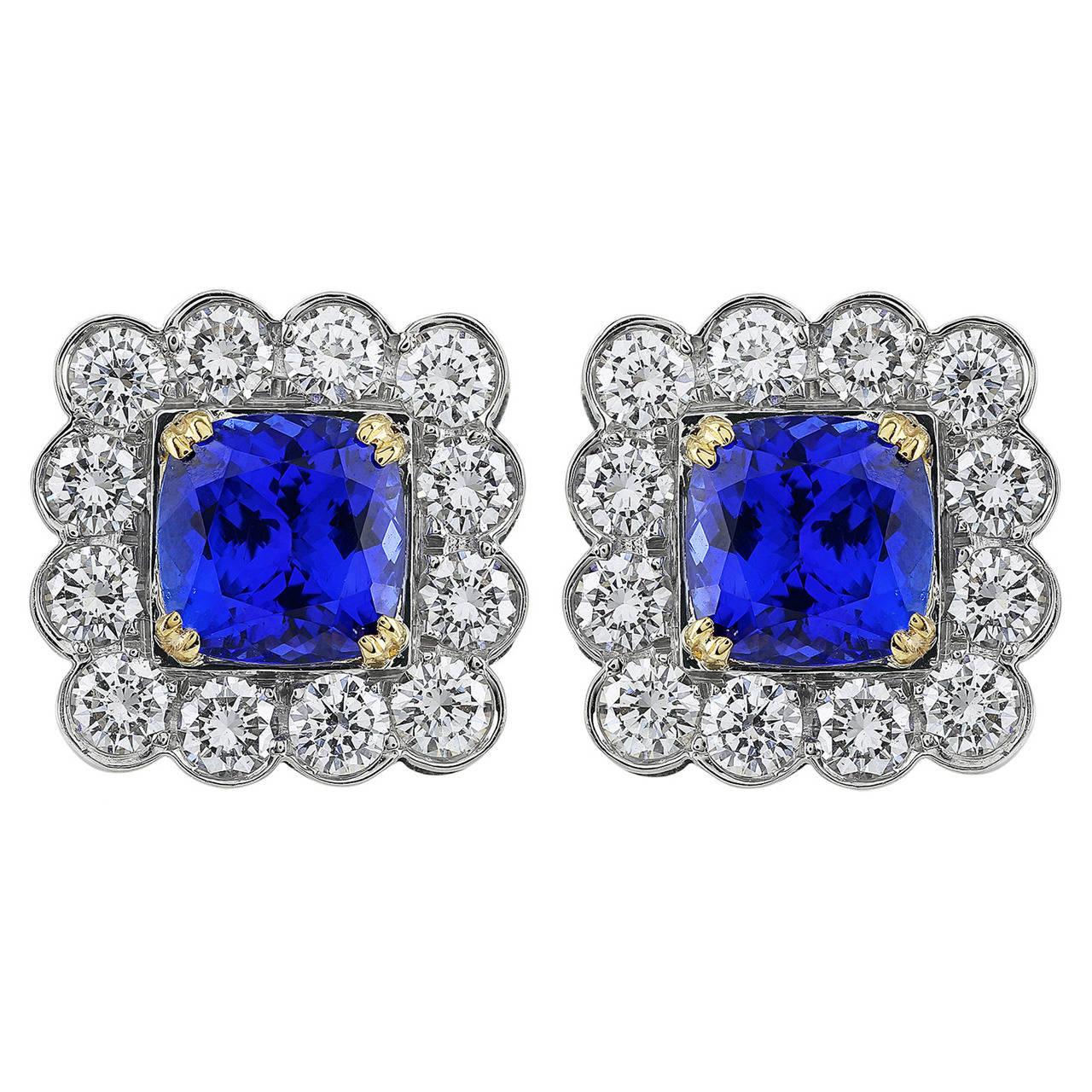 6.34 Carat Tanzanite Diamond Platinum Cluster Earrings 1