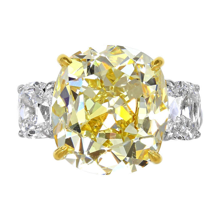 10.79 Carat Natural Yellow Antique Cushion Cut Diamond Ring For Sale