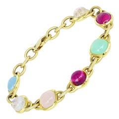 Cabochon Gemstone Gold Link Bracelet
