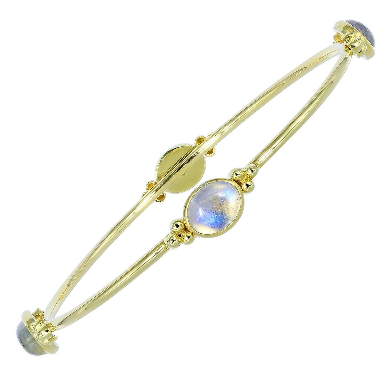 Moonstone and Gold Bangle Bracelet