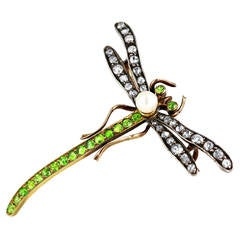 Art Nouveau Demantoid Garnet Diamond Gold Dragonfly Brooch