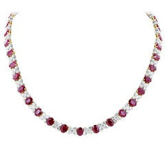 Burma Ruby and Diamond Necklace