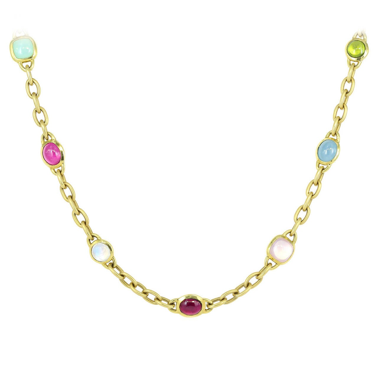 Cabochon Gemstone Gold Open Link Necklace
