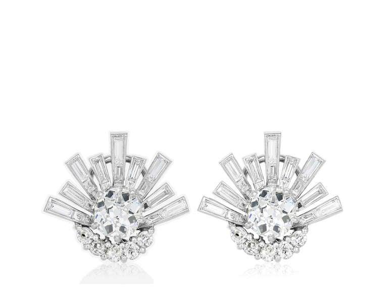 Platinum Antique Cushion Cut Diamond Earrings 2