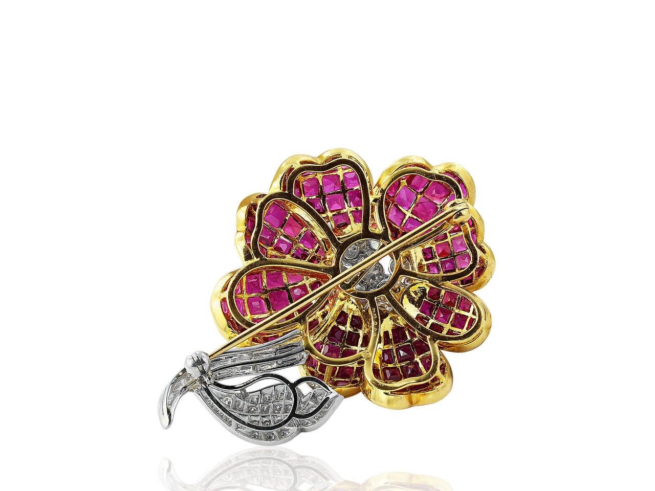 Contemporary Oscar Heyman Ruby and Diamond Brooch For Sale